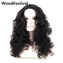 Настоящее аватар волнистые черный парик длинные вьющиеся парики для чернокожих женщин синтетические волосы парики жаропрочных парик пушистые WoodFestival