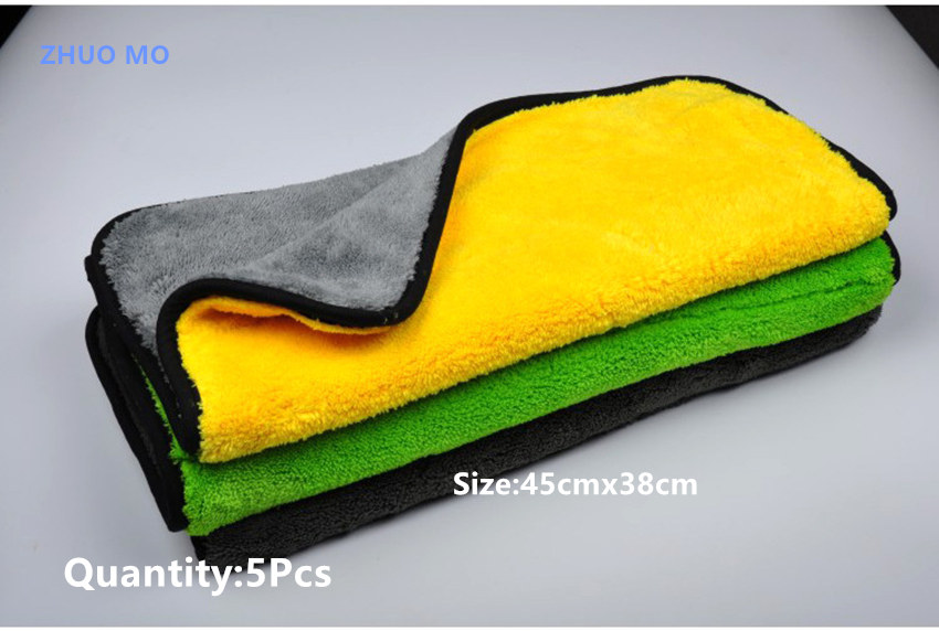 5Pcs 45cmx38cm High Quality Plush Microfiber Car Cleaning Cloth Car Care Microfibre Wax Polishing Detailing Towel