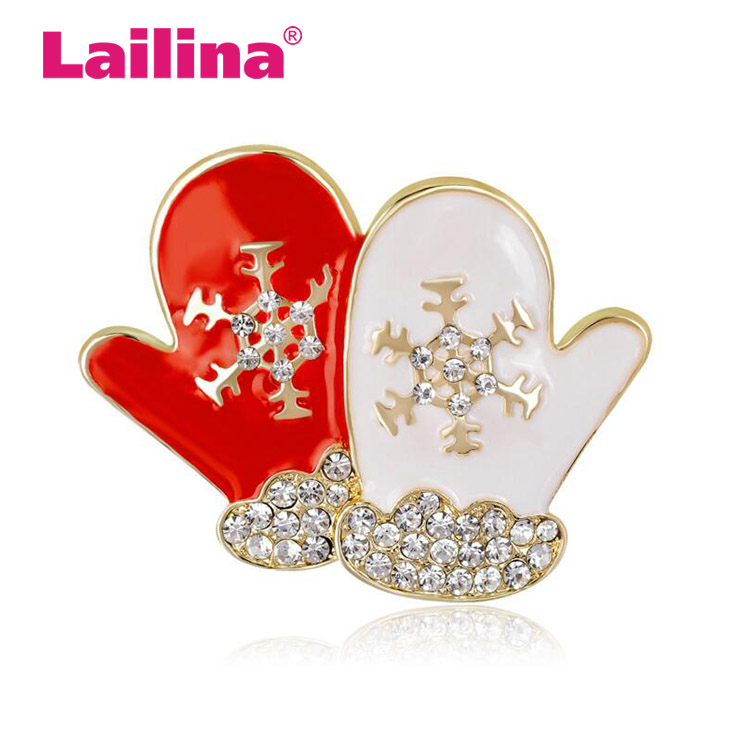 Jewelry Cute crystal Rhinestone Gloves Brooch Pins Christmas Brooches Enamel Pins For Women best Gifts
