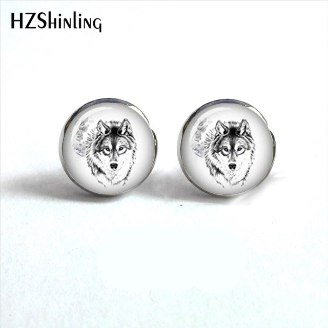 Nes 0056 White Wolf Earrings Howling At The Moon Ear Studs Jewelry Stud