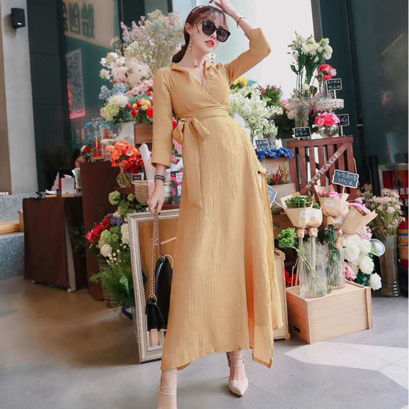 0305124ecf Vintage Women Summer V neck Dress Casual Bow Belt Long Sleeve Sexy Split Maxi  Dress Black White Turmeric Loose Party Dresses -in Dresses from Women s ...