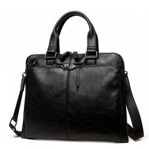 Image 3 - VORMOR Brand Men bag Casual mens briefcase 14 inch laptop Handbag shoulder bag PU leather mens office bags 2019
