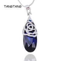 Austria Blue Crystal Water Drop Pendant Necklace For Female Fashion Jewelry Wedding Gift Factory Direct Price Item NO.: LN1223