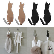 New 2PCS Self Adhesive No-Trace Kitchen Bathroom Cat Hook Hanger Super Strong Hanger Hooks Wall Door Hanger Organizer Home Decor(China)