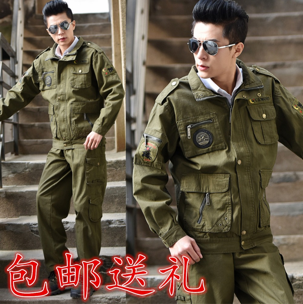 100% Cotton mens military army sets pilot special forces usa army air force Tooling jacket and pant sets suit