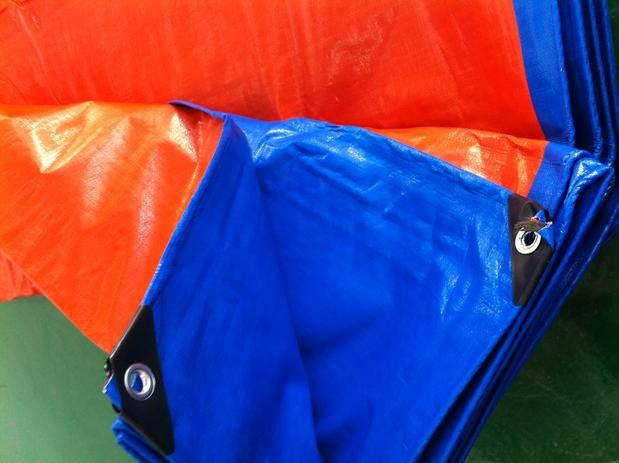 Customize 6mX3m blue and orange outdoor commodity covered cloth, waterproof canvas, rain tarpaulin, truck tarpaulin,