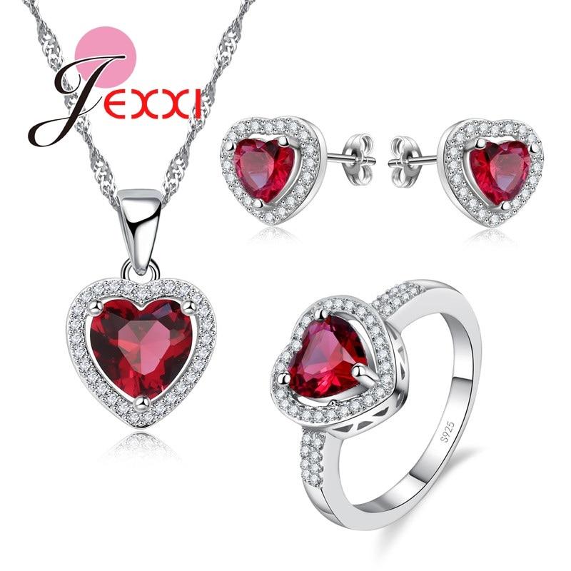 Új érkezés divat 925 ezüst ékszer szett Charm piros szív nyaklánc + fülbevalók + gyűrűkészletek nagykereskedelme
