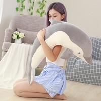 Candice guo! super cute plush toy lovely long body dolphin soft stuffed doll cushion sleep hold pillow birthday Christmas gift