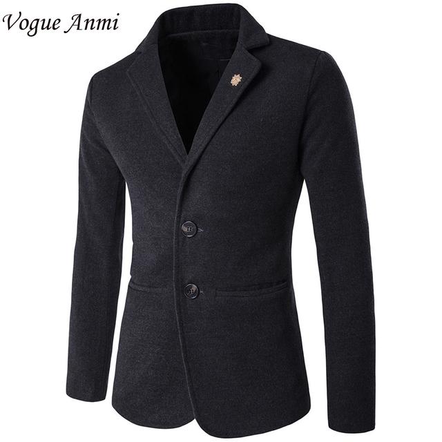 Vogue Anmi. Mens blazer slim fit traje chaqueta de terciopelo azul negro 2017 primavera otoño outwear el Envío Libre Trajes Para Hombres M-5XL