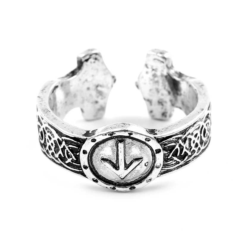 Vintage Ancient Silver Viking Rings Men's Custom Rune Totem Open Ring Norse Vintage Men Jewelry Gift Men Jewelry Bague Homme