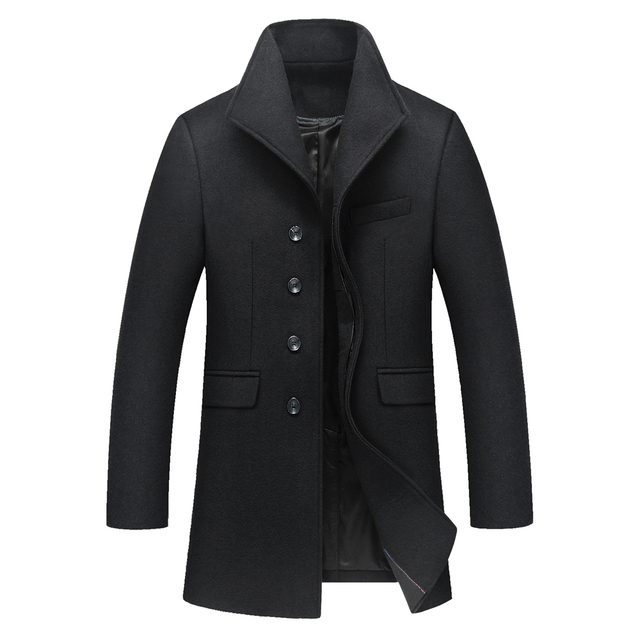 2016 Winter New Slim Long Men Woolen Coat Good Quality Turn Down Collar Mens Winter Jackets And Coats