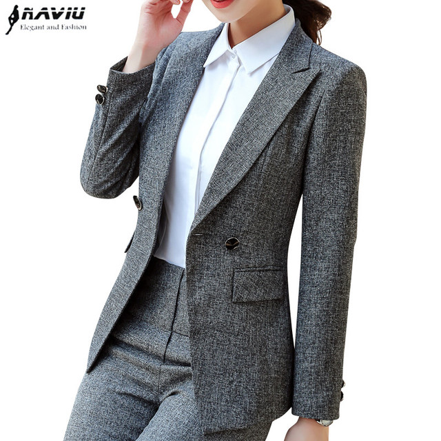 Naviu High Quality Blazer Women Formal Business Slim Long Sleeve Jacket Office Ladies Plus Size Tops