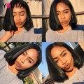 7A Corto Bob Pelucas Cortas Para Las Mujeres Negras 200% de Alta Densidad del Frente del cordón Pelucas de Pelo Humano Con El Pelo Del Bebé Brasileña Recta Del Cordón peluca