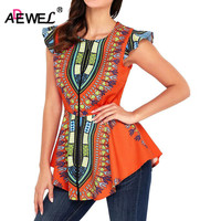 ADEWEL Latest 2018 Fashion African Printed Women Blouse Little Ruffles Sleeve Zipper Front Tight Waist Sexy