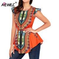 ADEWEL Latest 2018 Fashion African Printed Women Blouse Little Ruffles Sleeve Zipper Front Tight Waist Sexy