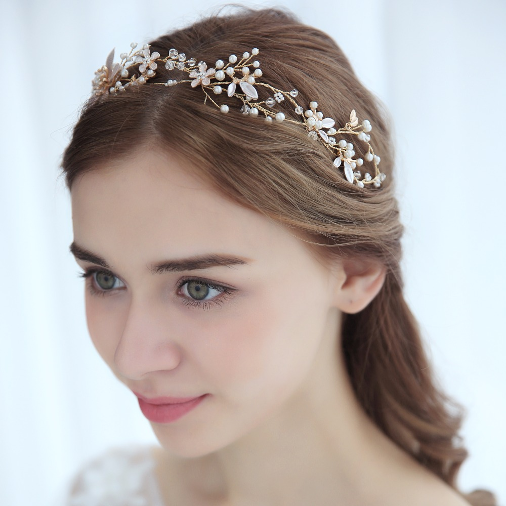 Pearl Rhinestone Flower Bride Hairband Hair Ornaments Wedding Accessories Bride's Tiara Gold Color Flower Hair Accessories multicolor flower bowknot hairband