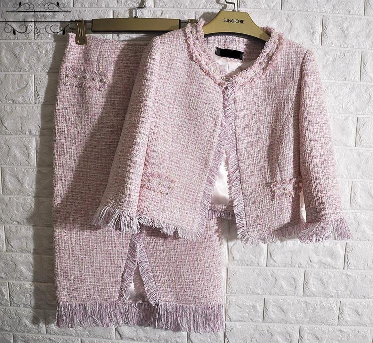 Розовый комплект из 2 предметов, элегантный укороченный топ и юбка, твидовая куртка + юбка, Женский костюм на заказ, большие размеры 5xl 6xl conjunto