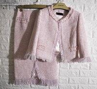 pink 2 piece set,elegant crop top and skirt set,tweed jacket+skirt women suit set,custom plus size 5xl 6xl conjunto feminino
