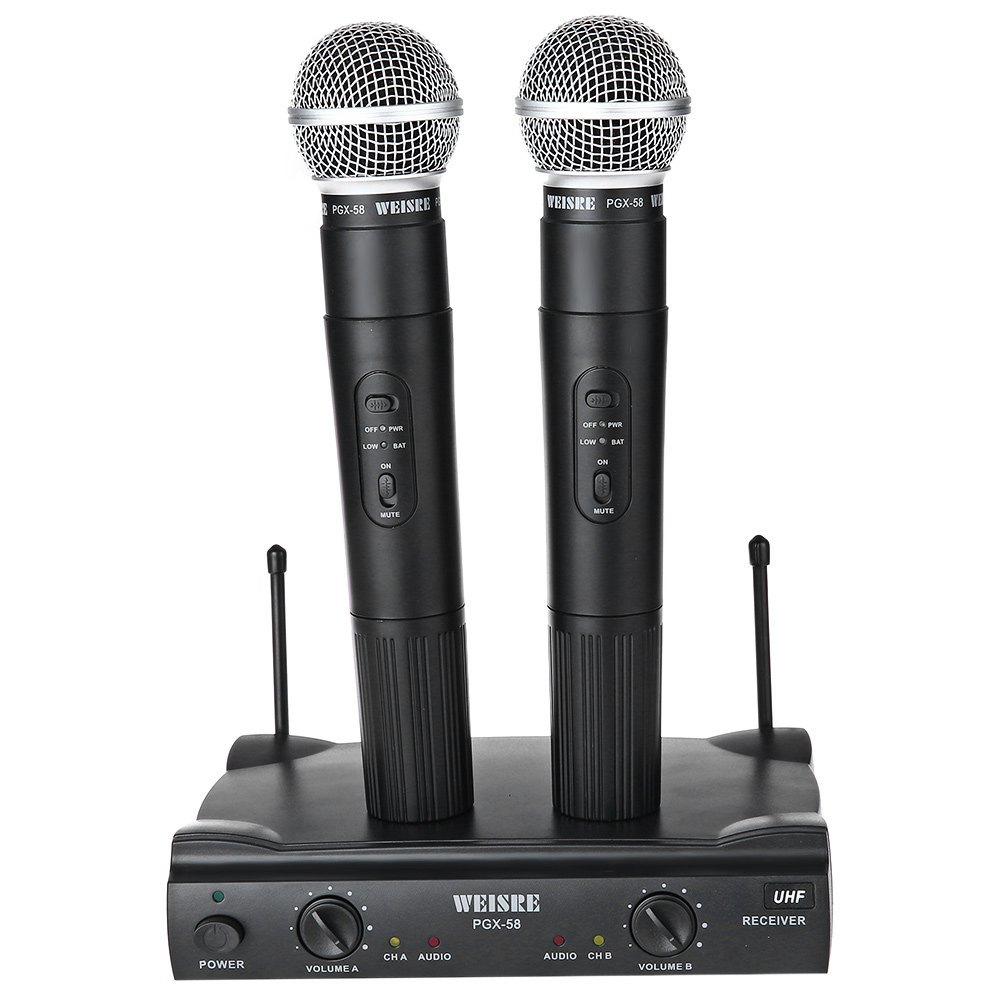 Original WEISRE PGX - 58 Professional UHF Dual Wireless Microphone Mic System For Karaoke Party KTV Etc  professional vhf dual wireless microphone system mic for shure karaoke singing ktv stage conference computer microfone sem fio