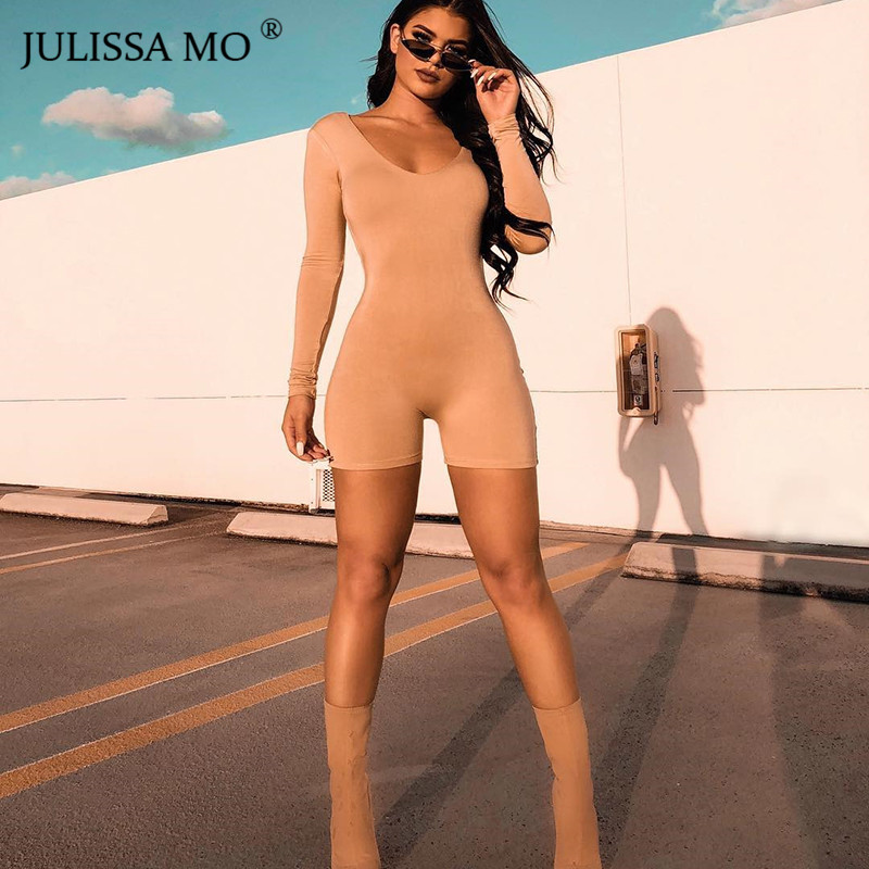 JULISSA MO Autumn Long Sleeve Bodycon Rompers Womens Jumpsuit Sexy Square Collar Backless Short Playsuit One Piece Slim Bodysuit