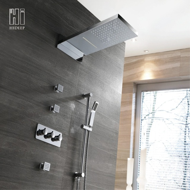 HIDEEP Rainfall Shower Set System Brass Chrome Bath Shower Faucet Bathroom  Luxury Rain Mixer Shower Combo