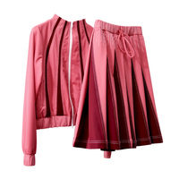 See Orange 2018 Fashion Bright Pink Patchwork Jacket Women Uniform Sport Bomber Jacket Coat With Skirt Two Piece Set Suit Women