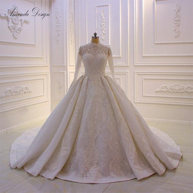 Amanda Design bouquet mariage High Neck Long Sleeve Lace Appliqued Muslim Wedding Dress