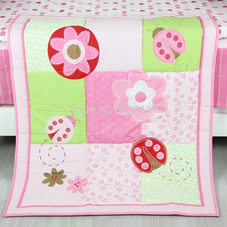 Ups Free New 3 Pcs Flower Baby Cot Crib Bedding Set For Baby Girl Bed Linen Comforter Quilt Sheet Bumper Bedding Sets Mother & Kids