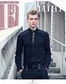 Бесплатная Доставка Новый мужской с длинными рукавами мужская мода повседневная Осень чистая Корейской тонкий Вышивка Цветок Рубашка бархат утолщение 2013