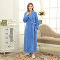 Женские Зимние Твердых Кораллов Руно Домашняя Одежда длинные халаты пижамы халаты женские Махровые халаты