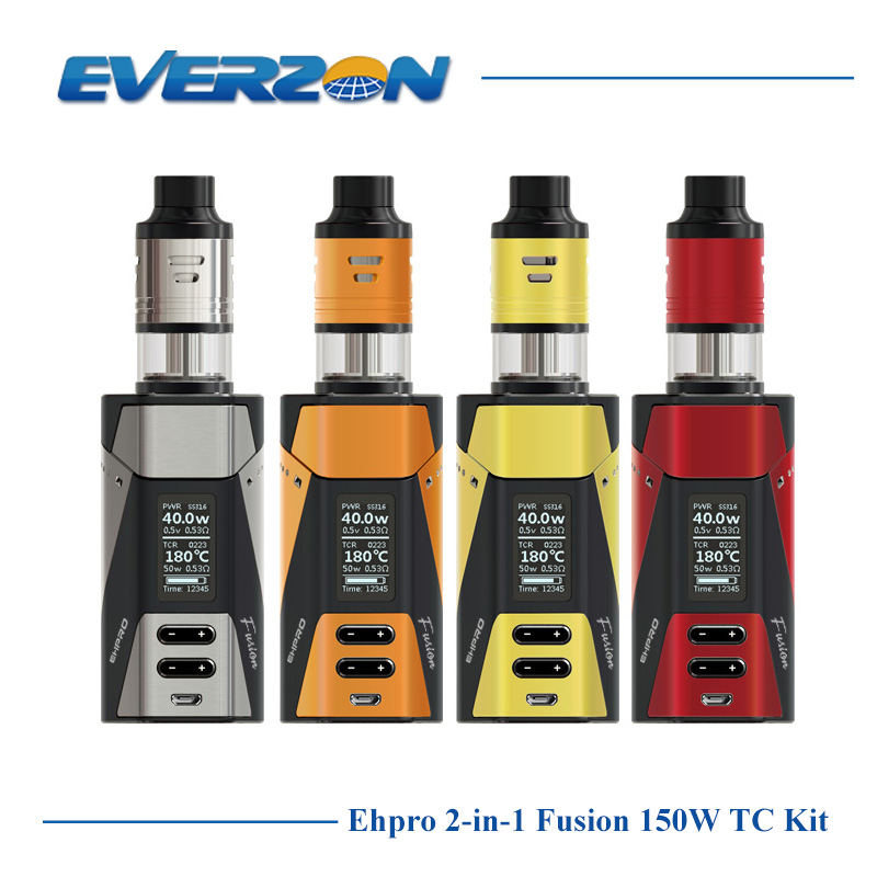 Original Ehpro 2-in-1 Fusion 150W TC Kit with 18650 Battery Mod & 2ml Atomizer 510 Thread Adjustable Airflow Single/Dual Coil 2017 liitokala 2pcs new protected for panasonic 18650 3400mah battery ncr18650b with original new pcb 3 7v