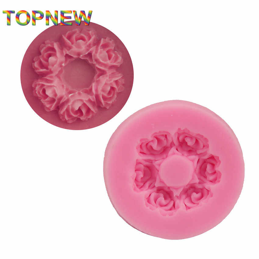 3.7*0.7CM Rose flower Shape 3D Silicone mold soap chocolate mould for kitchen baking clay DIY cake Decorating tools C1784