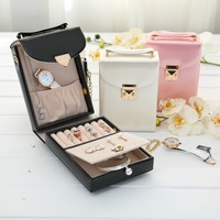 Portable Travel Jewelry Box Casket Fashion Women Makeup Handbag Cosmetic Organizer Leather Earrings Jewelry Case Birthday