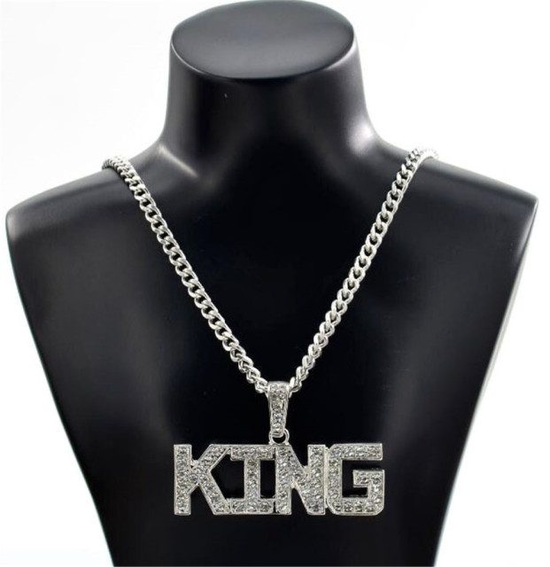 Men Hip Hop Full Rhinestone King Shape Pendants Necklaces Bling Bling Iced Out Cuban Link Chain Hiphop Necklace Men Jewelry Gift Accessories Jewellery & Watches Women's Fashion