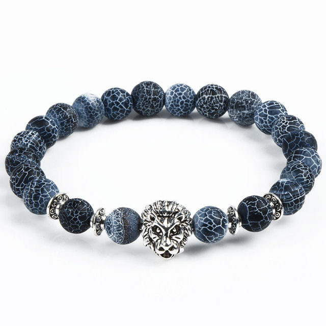 Men Women Yoga Jewelry Leopard Tiger Eye Lion Head Bracelet Owl Buddha beads Bracelets Bangles Charm Natural Stone Bracelet
