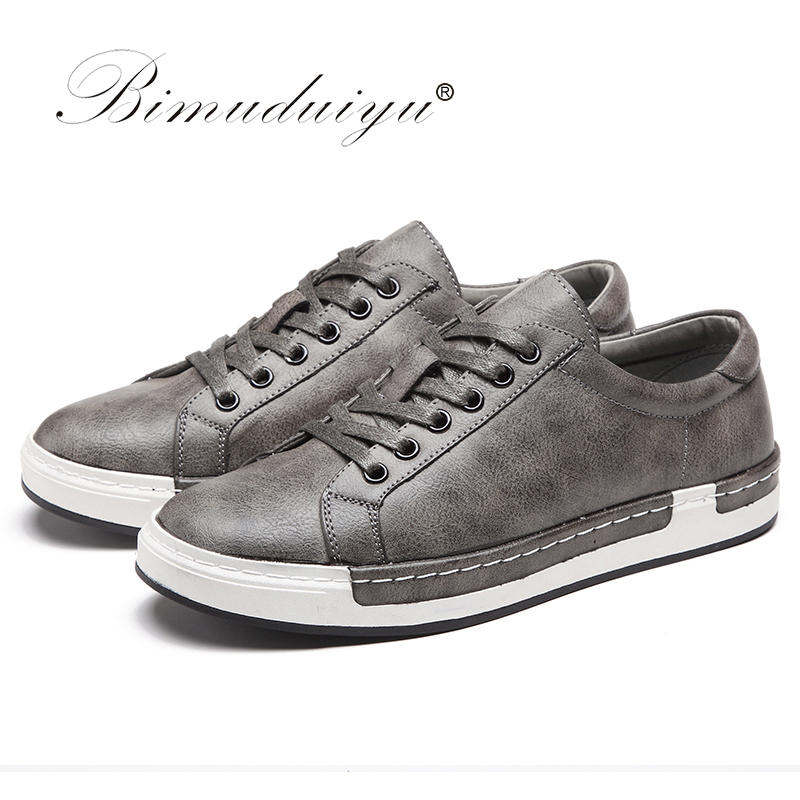 Bimuduiyu Autumn New Casual Shoes Mens Leather Flats Lace-up Shoes Simple Stylish Male Shoes Large Sizes Oxford Shoes For Men #2