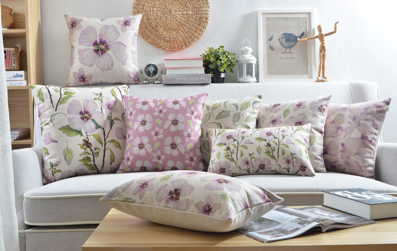 nordic style decorative throw pillows case purple floral cushion cover home decor green flower chair cushion couch pillowcase