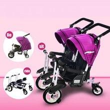 Коляска для бега, трицикл для близнецов, может лежать трицикл для близнецов, трицикл для близнецов, трицикл для Близнецов с регулируемой ручкой