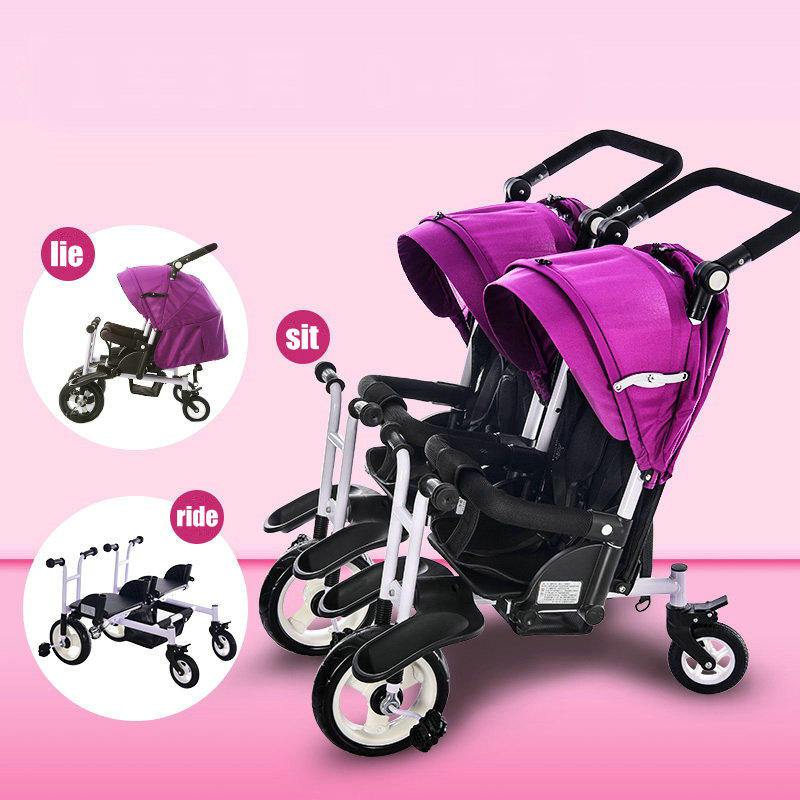 Jogger stroller twins tricycle, can sit can lie twins tricycle, side by side twins tandem trike, twins tricycle of adjust handle bollard twins outfit
