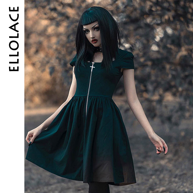Ellolace punk rock gothic dress front cross zipper halter women's dress summer black cool chic harajuku new pleated dress female