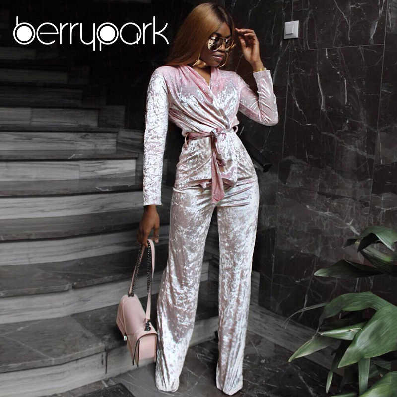 BerryPark Women Elegant Velvet 2 Two Piece Set 2019 Winter Warm Thicken  Velour Casual Pajamas Pant 15c8e04f3