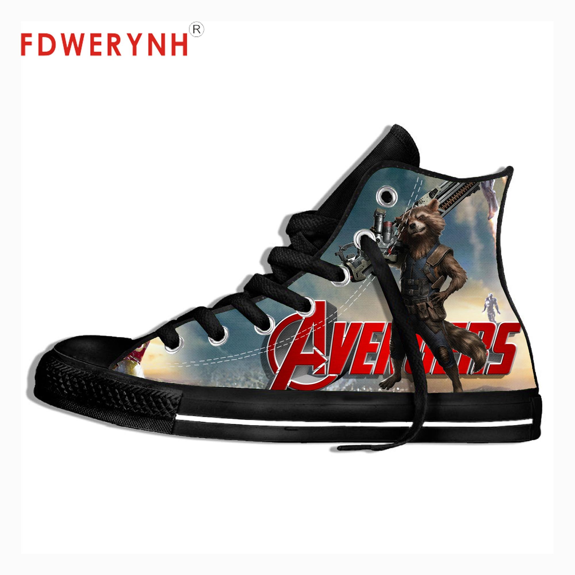 Les gardiens de La Galaxie Rocket Raccoon homme Impression Sur Toile Cheville Chaussures décontracté En Plein Air Sport Baskets Punk Chaussures