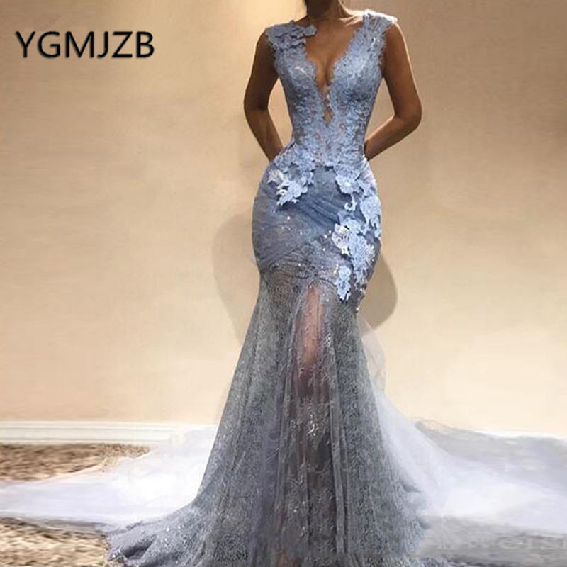 Abendkleider 2019 Sexy Lace   Evening     Dresses   Long Mermaid Deep V-neck See Through Saudi Arabic Women Formal Prom Gown Party   Dress