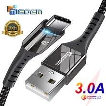 TIEGEM USB نوع C كابل USB C 3A شحن سريع نوع C كابل مزامنة كابل بيانات لسامسونج S8 S9 S10 شاومي mi9 نوت 7 8 9 الحبل