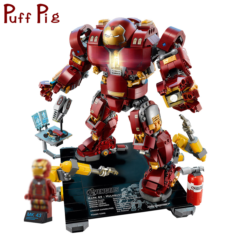 все цены на 1530PCS Marveled Super Heroes Hulkbuster Mecha Building Blocks Compatible Legoed Avengers Iron Man Armor Soldiers Children Toys онлайн