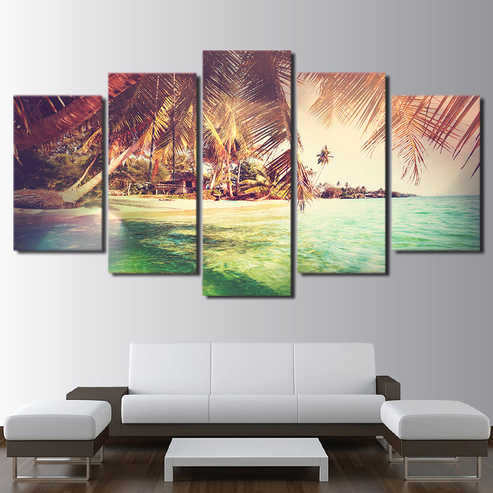 HD Printed Canvas Poster Home Decor Living Room 5 Panel Island Palm Trees Landscape Frame Wall Art Painting Modular Pictures