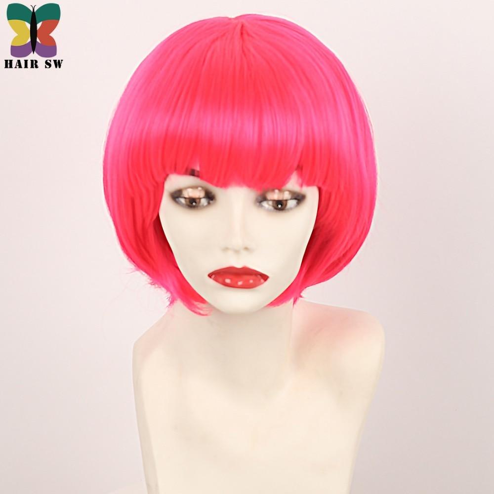 Σύντομη ρόδινη ζεστή ροζ περούκα - Συνθετικά μαλλιά - Φωτογραφία 5