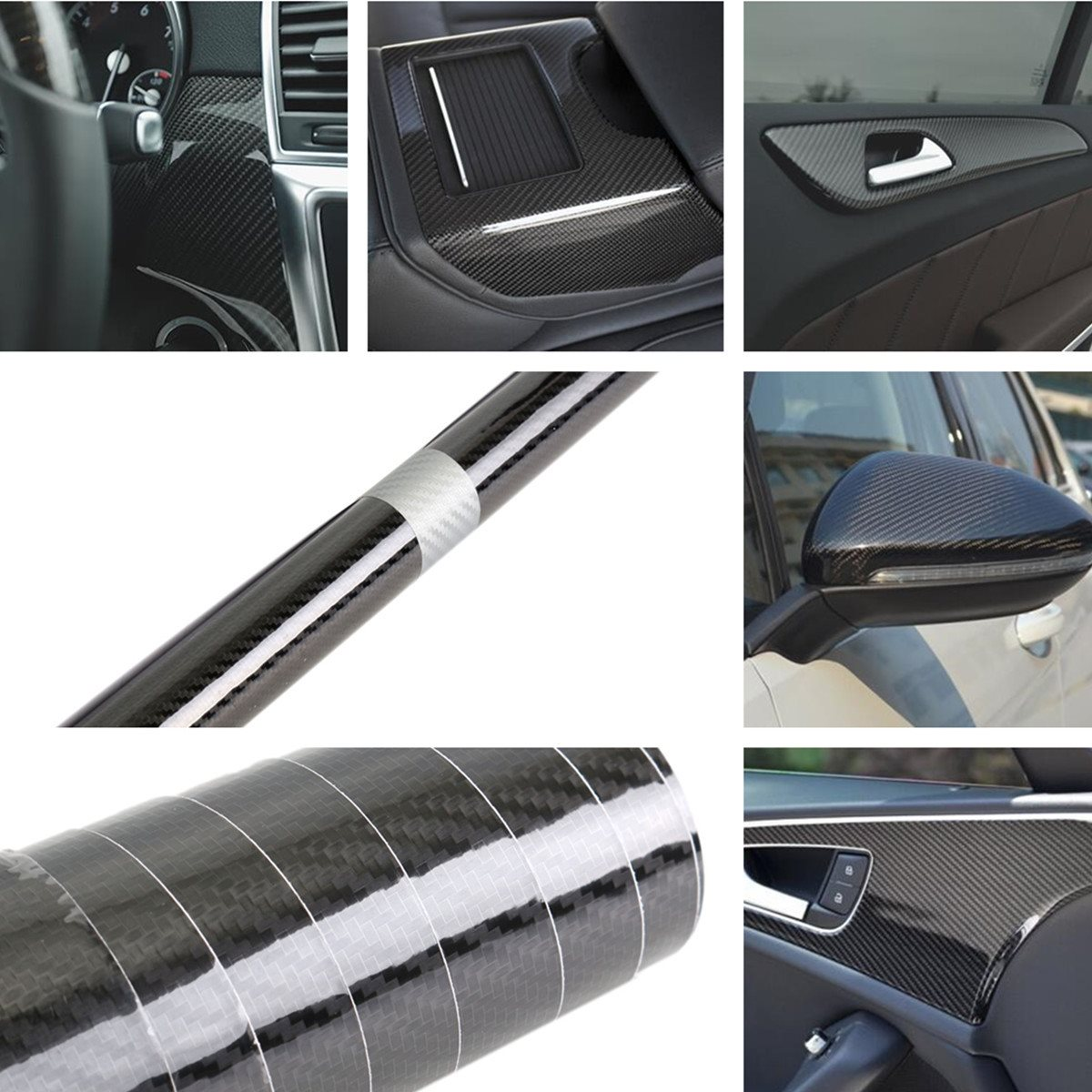 high gloss pvc 5d carbon fiber vinyl foil film car wrap roll sticker decal black 35 150cm. Black Bedroom Furniture Sets. Home Design Ideas