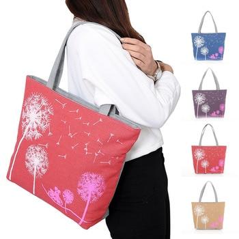 Bags for Women 2018 Dandelion Canvas Belt Bag Flowers Casual Women Handbag Zipper Shoulder Bags Lady's Beach Bag Sac Main Femme