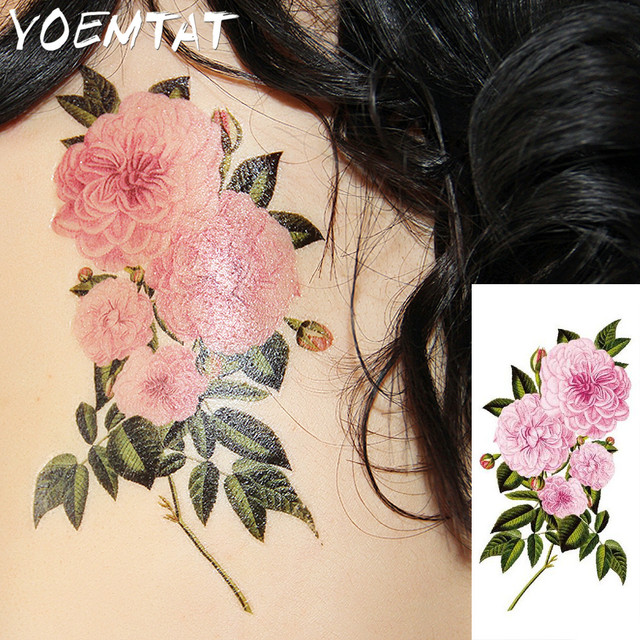 Pivoine Rose Fleur De Prunier Fleurs Bras Epaule Autocollants De